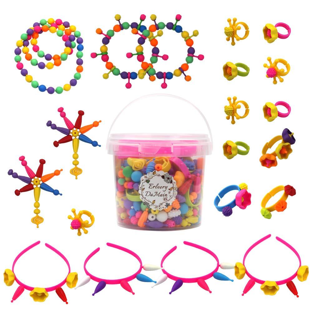 520 pcs Snap Beads Pop Beads DIY Jewelry Making Art Crafts Gift Toys Set for Girls Erlvery DaMain