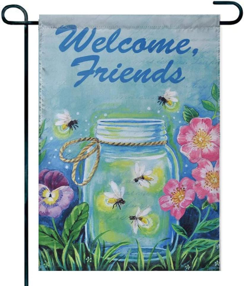 Amuseds Double Sided Premium Garden Flag,Shine Firefly Garden Decorative Pleasant Garden Flags - 18 x 12 Inch