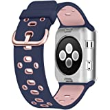 Apple Watch Breathable Band 38mm 42mm, UMTELE Silicone Replacement Wristband Sport Strap with TPU Protective Case for Apple Watch Nike+, Series 2, Series 1, Sport, Edition, Variety Of Colors Available