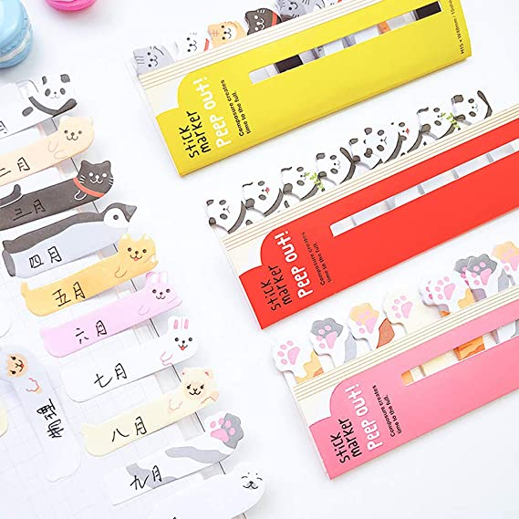 Random Pattern 4 Blatt Cute Animals Sticker Lesezeichen Notizblock Sticky Cartoon Notizen Page Flags Self-Stick Tab Lesezeichen Marker School Supplies Office Tools