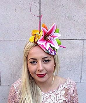 Hot Pink Tropical Orchid Lily Flower Feather Fascinator Hat Hair ... 7448ee3fef8
