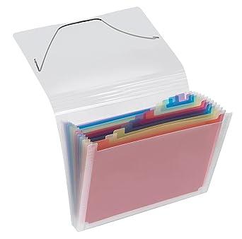 Carpeta archivadora con compartimentos tipo acordeón A4 transparente 12 compartimentos: Amazon.es: Oficina y papelería