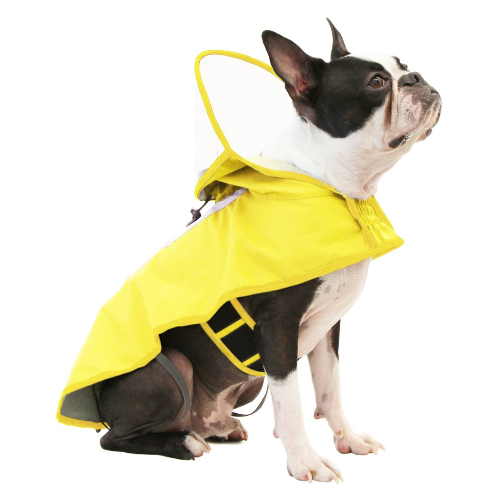 Gooby - Raincoat, Adjustable Rain Cap with See Through Visor, Yellow, Small by Gooby