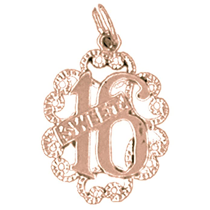 14K Yellow Gold-plated 925 Silver Sweet 16 Pendant Jewels Obsession Silver Sweet 16 Pendant