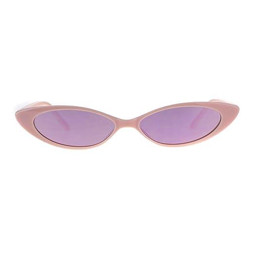 d627d2583d2 Womens Narrow Cat Eye Color Mirror Lens Goth Plastic Sunglasses All Pink