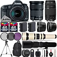Canon EOS 5D Mark III DSLR Camera + Canon 24-105mm IS STM Lens + Canon 75-300mm Lens + 650-1300mm Telephoto Lens + 500mm preset Zoom Lens + 0.43X Wide Angle Lens - International Version