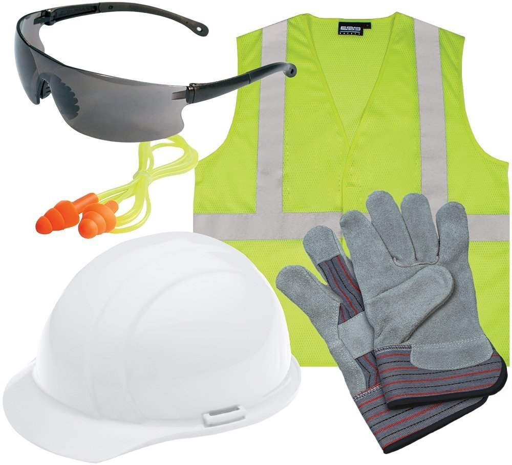 White ERB Safety 16540 5 Piece L3 New Hire Kit with Gray Glasses and S362 XX-Large Hi-Viz Lime Safety Vest 2X-Large Plastic