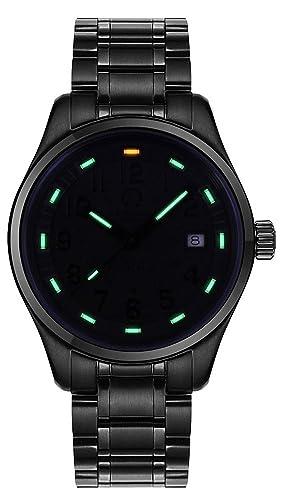 carlien reloj luminoso verde tritio para hombre nadar FECHA de acero inoxidable Cristal de zafiro analógico relojes de cuarzo: Carnival: Amazon.es: Relojes