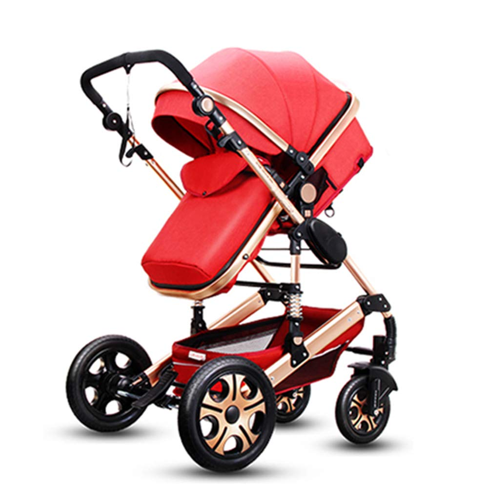 Pushchair pram for Babies 2-1 Baby Stroller Bed? Newborn Bassinet 2-in-1 Reversible Strollers Sleeping Carriage high Landscape Infant Trolley (red 2-1)