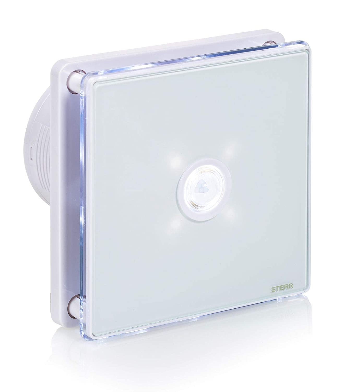 BFS100LP-B 4 STERR Black Bathroom Extractor Fan with LED Backlight and PIR Sensor 100 mm