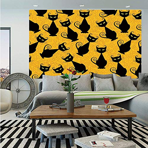 SoSung Vintage Decor Wall Mural,Black Cat Pattern on Orange Background Halloween Witch Pet Graphic Decorative,Self-Adhesive Large Wallpaper for Home Decor 83x120 inches,Black Orange]()