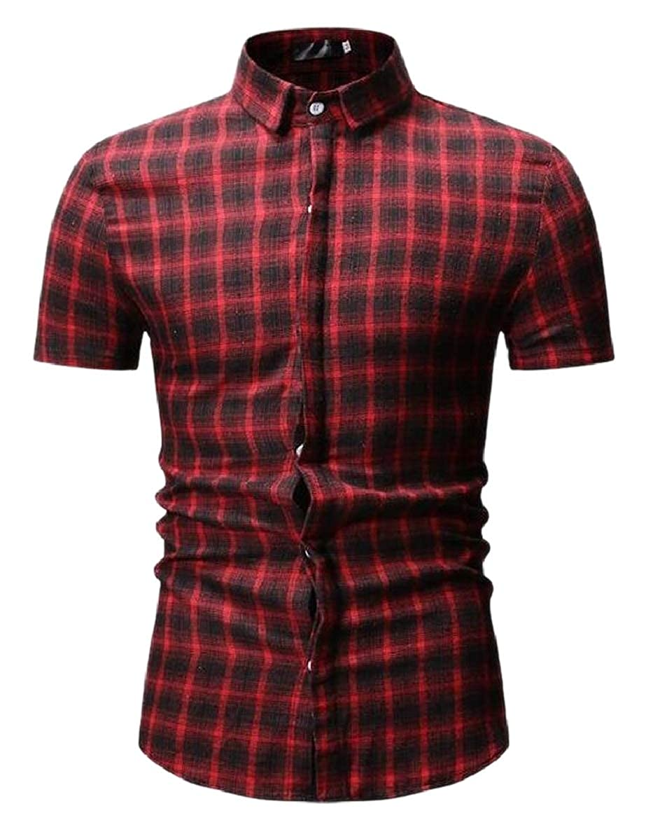 shinianlaile Mens Short Sleeve Slim Fit Plaid Dress Shirt Western Button Down Shirts