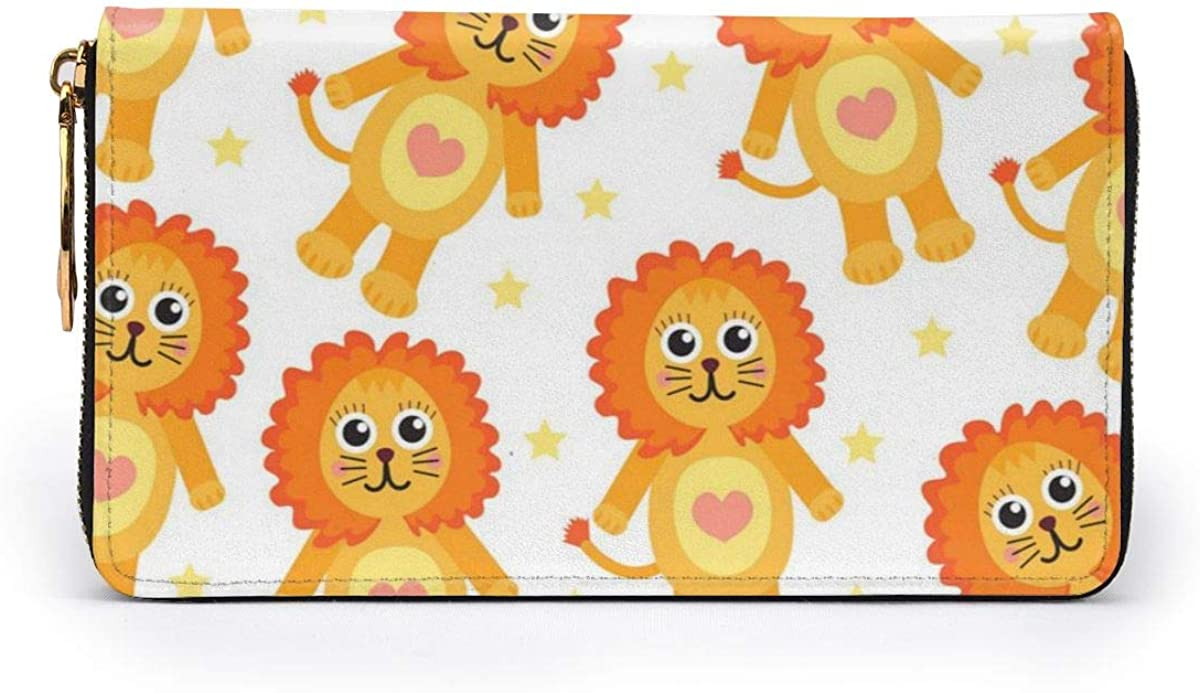 Cute Cartoon Lion Seamless Texture Leather Zipper Clutch Bag Wallet Large Capacity Long Purse For Women Customized