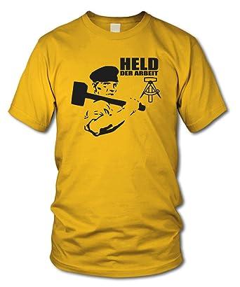 HELD DER ARBEIT - FUN T-Shirt - Retro DDR KULT - Gelb - Größe