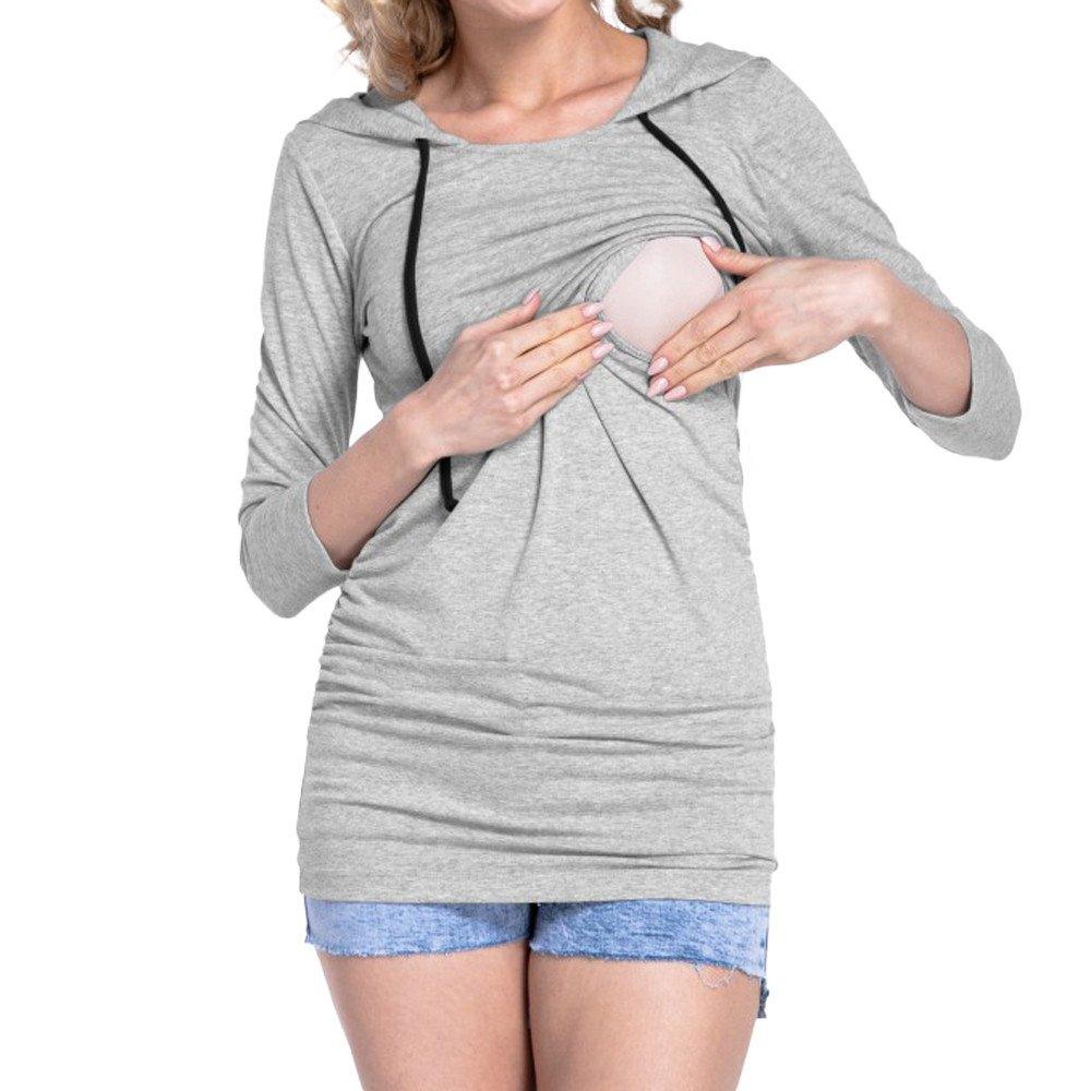 Moonuy Femmes Multifonctionnel Automne Maternity Nursing Tops Vêtements À Manches Longues pour Élégant Enceinte À Capuche Blouse Hauts d'allaitement Blouse à Capuche
