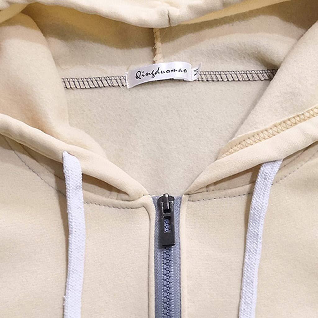 Kiasebu Mens Winter Casual Long Sleeve Stitching Color Slim Fit Pocket Zipper Hooded Sweatshirts Mens Hoodies Zip Up