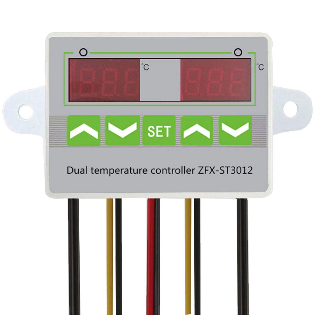 1PCS Digital LED Dual Thermometer Temperature Controller Thermostat Incubator Control Microcomputer Dual Probe AC 12V