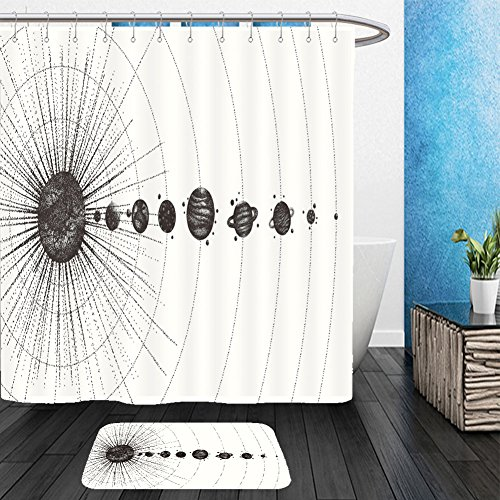 Vanfan Bathroom 2 Suits 1 Shower Curtains & 1 Floor Mats solar system in dotwork style planets in orbit vintage hand drawn illustration 583408582 From Bath room by vanfan