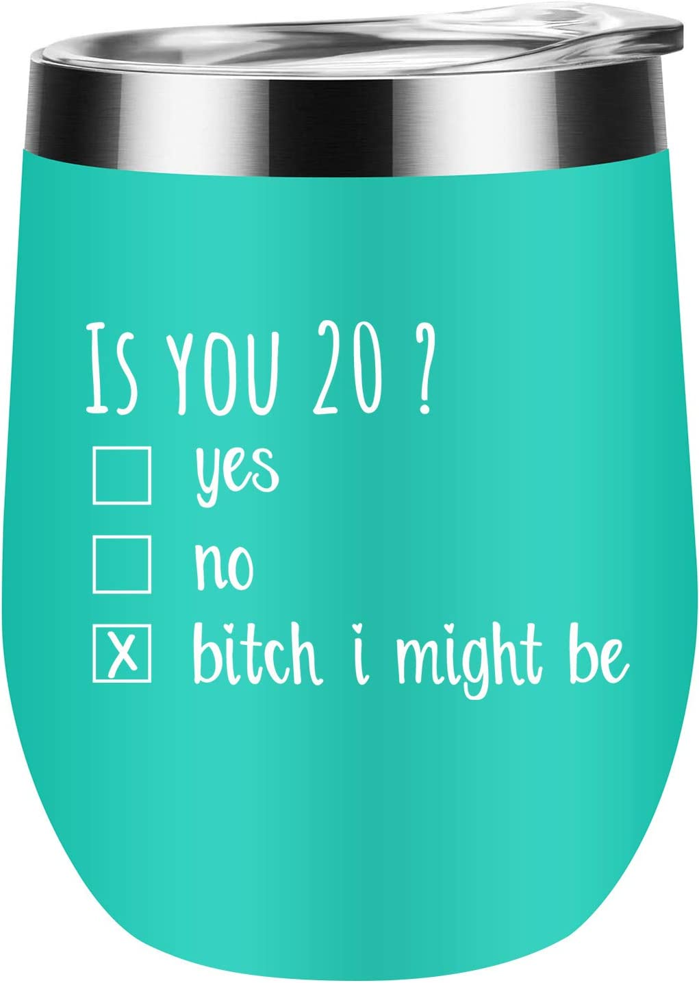 20th Birthday Gifts for Women and Men - Funny Is You 20 Gift Idea for Mom Dad Husband Wife - 20th Birthday Party Supplies Decorations for Him, Her - Jackmen 12 OZ Wine Tumbler