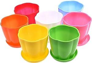Beautyflier 7pcs Colorful Petal Plastic Plant Pot Planter Flower Pot with Pallet Tray Saucer for Decoration of Home Office Desk Garden Flower Shop