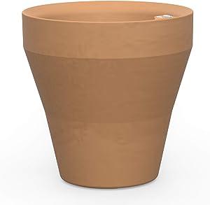 Crescent Garden Rim TruDrop Planter, Self-Watering Plant Pot, 22-Inch (Weathered Terracotta)