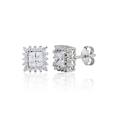 Perfection Rhodium Plated Sterling Silver Genuine Swarovski Cubic Zirconia Two Stone Ring Stud Earrings (0.10ct) ycw1u6jOcl