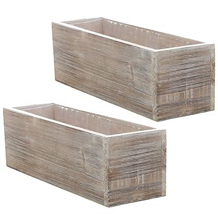 wood planter box set rustic whitewash country house charm plastic liners long - Wood Planter Box