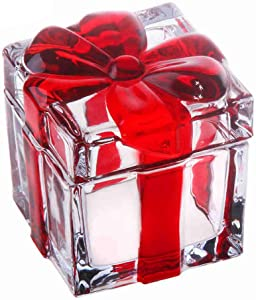 Vencer Square Sugar Bowl Crystal Glass With Bowknot Lid, Storage Box Wedding Candy Cookies Seasoning Food Tea and Food Storage Tank, Christmas Day Gift