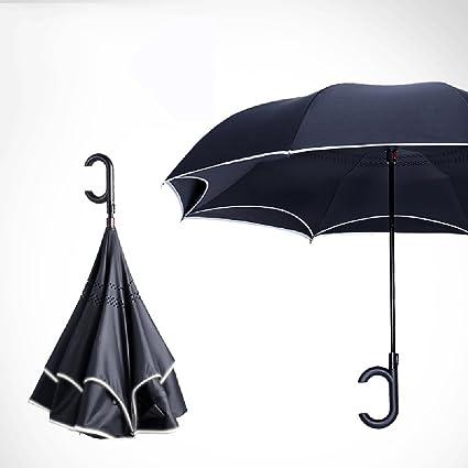 LJHA yusan Tira reflectante Manos libres paraguas de mango largo automático / Creatividad Paraguas reversible automotriz