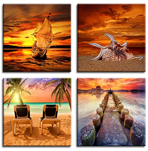 Canvas Wall Art Sunset Seaview Nature Paintings Ready to Hang Giclee Artwork Stretched and Framed Paintings on Canvas Modern Landscape Wall Art for Home and Office Decorations 4 Panel (20x20inchx4)