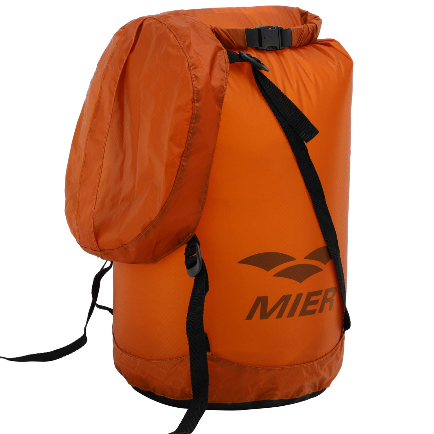 MIER Waterproof Compression Stuff Sack Ultralight Cordura Nylon Dry Bag for Backpacking, Kayaking, Camping, Outdoor Sports, 20L, Orange by MIER