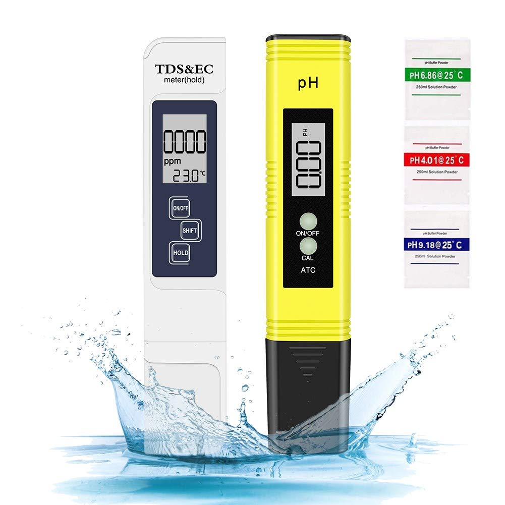 Sanyi PH TDS Meter, 4 in 1 Digital Water Test Pen 0 to 14.00 PH and 0 to 9999 PPM Measure Range for Drinking Water, Hydroponics Aquariums, Swimming Pools