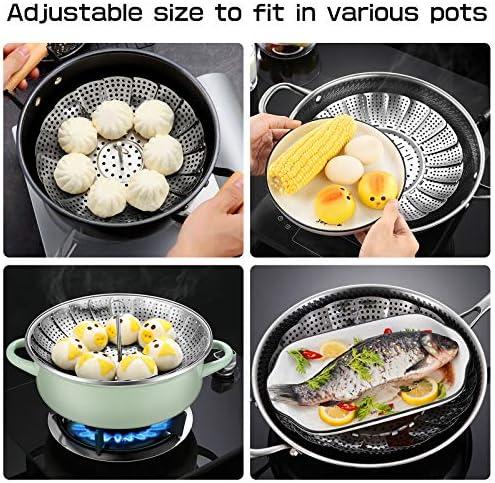 61v7yL7XkDL. AC Vegetable Steamer Basket, Folding Stainless Steel Steamer Fits for Various Size Pot, Expandable Veggie Steamer Basket Insert for Veggie Fish Seafood Cooking    Product Description