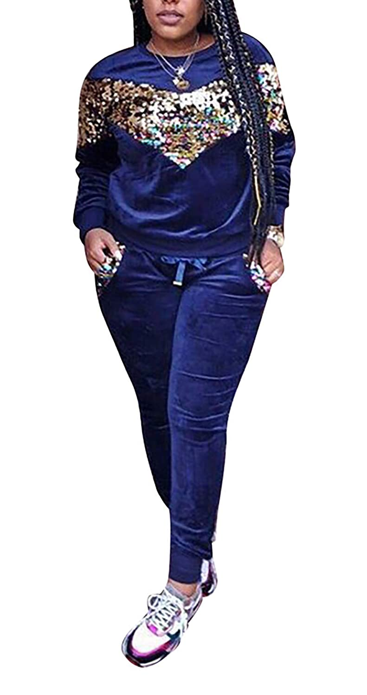 26bluee Lucuna 2 Pieces Sportwear Set for Women Long Sleeve Crop Tops+color Stripe Skinny Pants Tracksuit Set