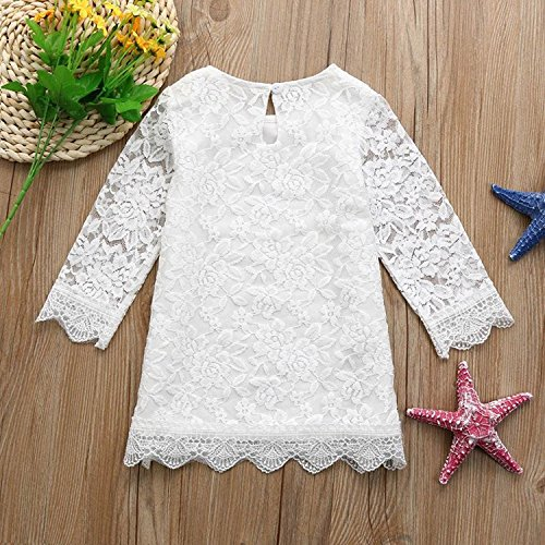 BELS Baby Girls Princess Dress Lace Flower White Party Wedding Summer Dress Clothes(White,4-5T) by BELS (Image #1)