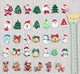 Miss.AJ 20-Pack Christmas Ornaments Refrigerator Magnets, Christmas Fridge Magnet Home Decoration with Santa Claus, Reindeer, Christmas Trees & Bells, Snowman