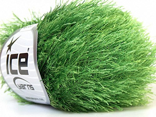 Grass Green Eyelash Yarn 50 Gram Ice 22787 (Green Eyelashes)
