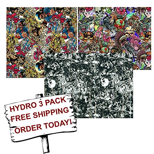 Hydro Dip Hydrographic Film - Water Transfer Printing - Hydro Dipping - Graffiti Skulls 3 Pack