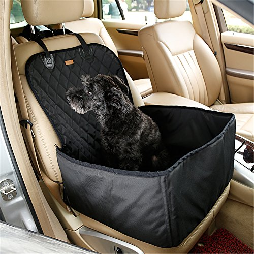 NACOCO 2 in 1 Pet Seat Cover Waterproof Dog Car Front Seat Crate Cover Protector Mat (Black)