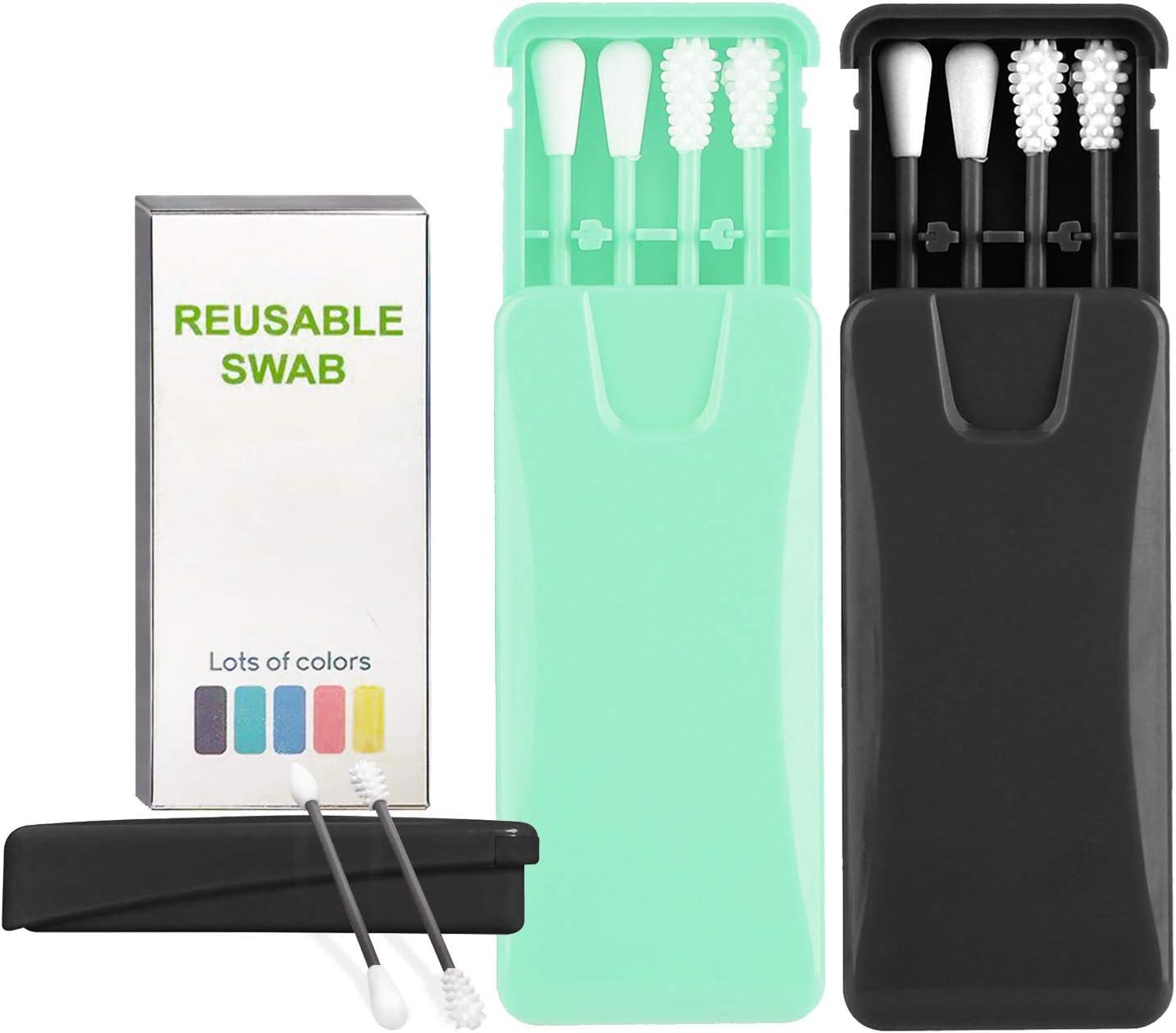 Bleu + rose 2 Bo/îte Coton-Tige R/éutilisable,Lavable Silicone Coton-tige Eco,B/âton doreille pour B/éb/é,Outil de D/émaquillant