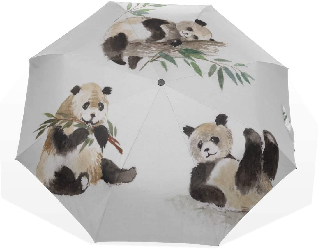 Compact Umbrella Kids Chinese Lucky Giant Panda 3 Fold Art Umbrellas outside Printing) Compact Sun Umbrella Rain Sun Umbrella Colorful Umbrellas Compact