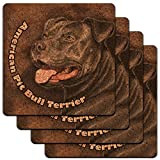 American Pit Bull Terrier Pitbull Blue Nose Dog Low Profile Cork Coaster Set
