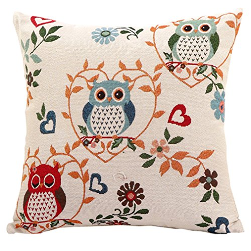 Goldy&Wendy owl Embroidery Throw Pillow Case Decorative Cushion Cover 18