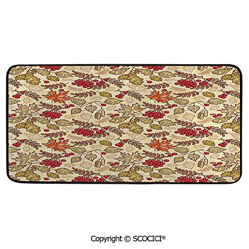 Soft Long Rug Rectangular Area mat for Bedroom Baby Room Decor Round Playhouse Carpet,Rowan,Fall Season Themed Mixed Pattern with Maple Birch Oak - Oak Stair Autumn