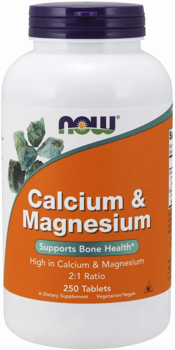 NOW Supplements, Calcium & Magnesium 2:1 Ratio, High Potency, Supports Bone Health*, 250 Tablets: Health & Personal Care