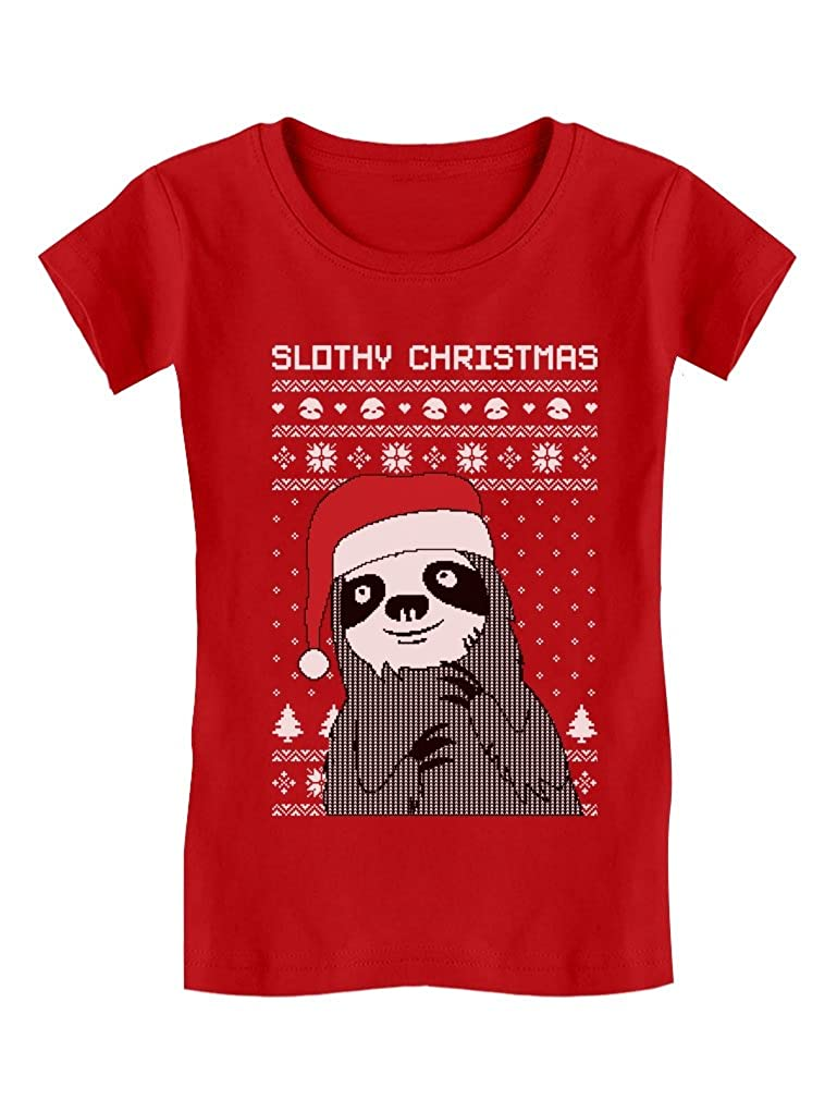 TeeStars - Slothy Christmas Ugly Christmas Sweater Girls' Fitted Kids T-Shirt GhPharagwm