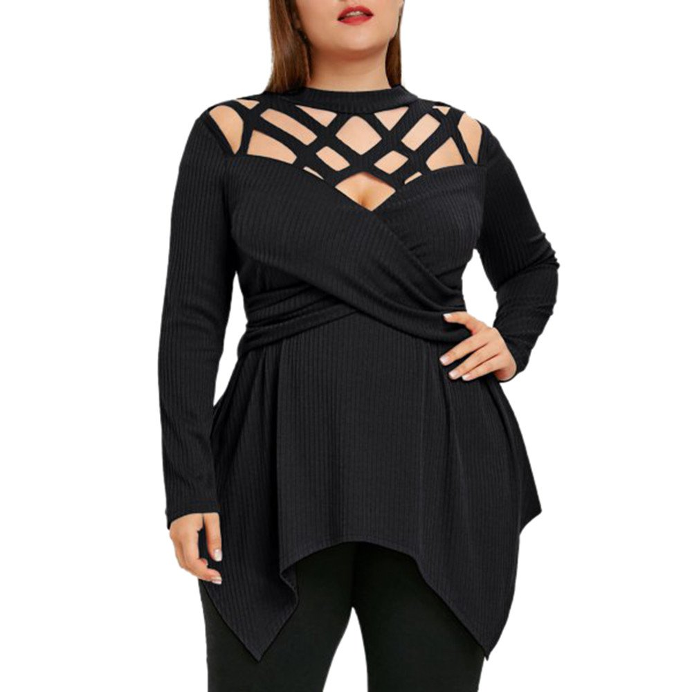 Women Long Sleeve Hollow Out Sexy Plus Flare Slim Pure Color Blouse Top Shirt, Ruhiku GW (XL, Black)
