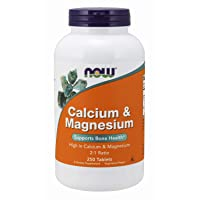 NOW Supplements, Calcium & Magnesium 2:1 Ratio, High Potency, Supports Bone Health*, 250 Tablets