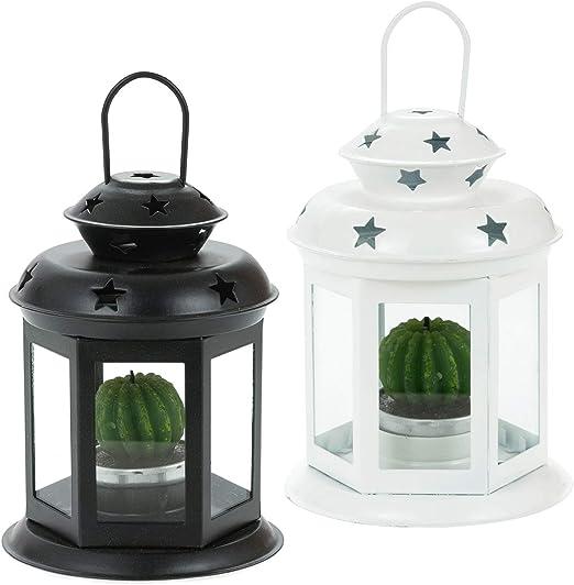 SOGREAT Juego de 2 faroles asa para jardín, portavelas, decoración ...
