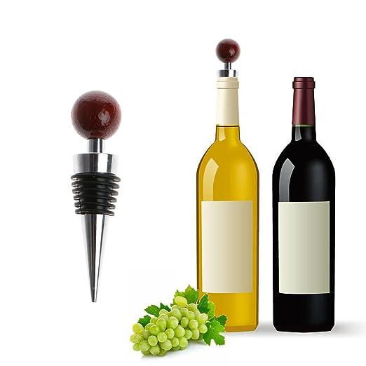 Compra Lamdoo - Tapón para Botella de Vino con Forma de Bola de Madera de árbol de aleación de Zinc en Amazon.es